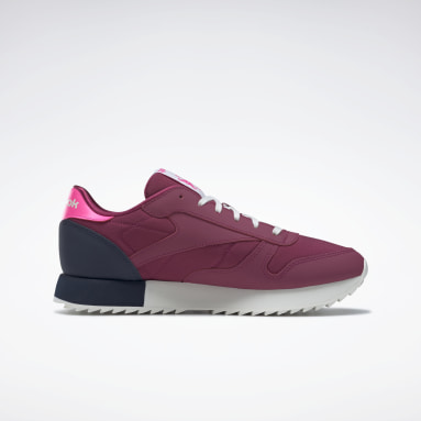 Women Classics Pink Classic Leather Ripple Shoes