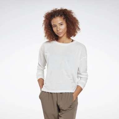 Women Hiking White Workout Ready Supremium Long-Sleeve Top T-Long-Sleeve Top