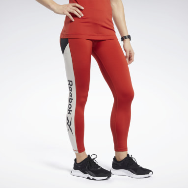 Women Fitness & Training Red Workout Ready Logo Tights