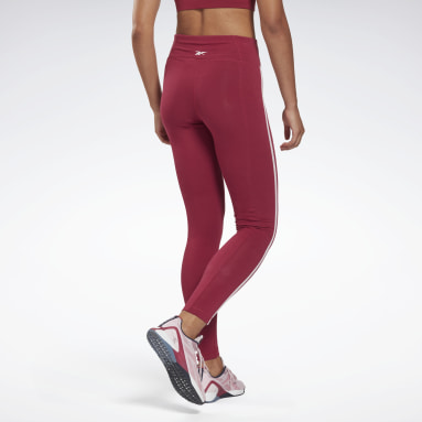 Women Fitness & Training Red Piping Cotton Leggings