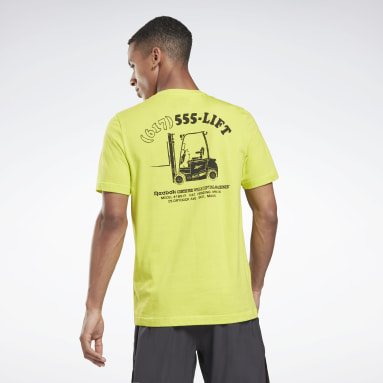 Men Fitness & Training Yellow Weightlifting Novelty Graphic T-Shirt