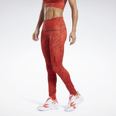 Women Fitness & Training Red Workout Ready Allover Print Tights