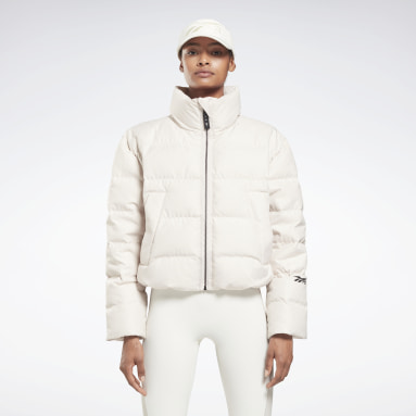 RBK VB Cropped Puffer Blanco Mujer Fitness & Training