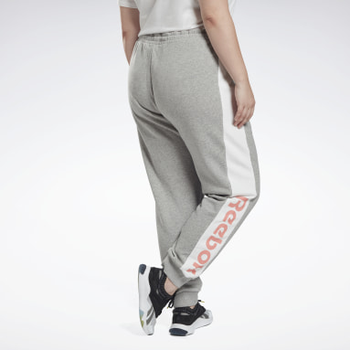 Women Fitness & Training Grey Linear Logo French Terry Pants (Plus Size)