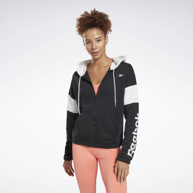 Sudadera Linear Logo French Terry Zip Up Negro Mujer Deporte