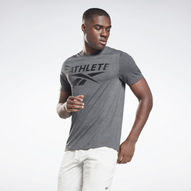 T-shirt Vector Graphic Athlete Gris Hommes Fitness & Training