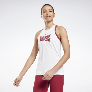 Women Cycling White Les Mills® BodyPump® Activchill Graphic Tank Top