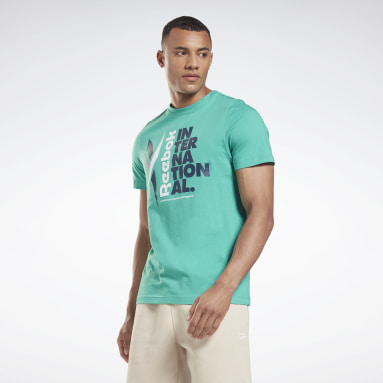 T-shirt Verbiage Graphic Turquoise Hommes Fitness & Training