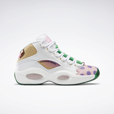 Classics White Candy Land Question Mid Men's Basketball Shoes