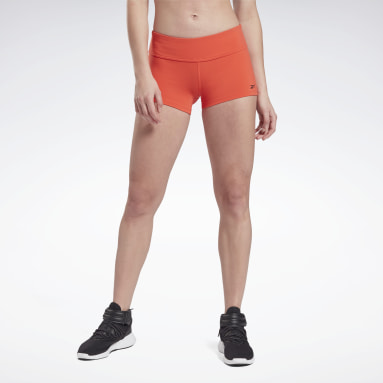 Women Cross Training Red Reebok Chase Solid Booty Shorts