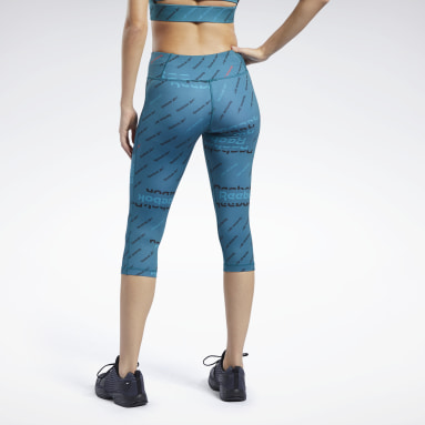 Women Fitness & Training Turquoise Workout Ready Allover Print Capri Tights