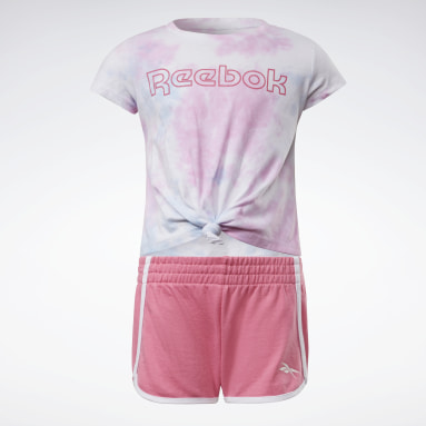 Girls Outdoor Pink Two-Piece Reebok Tie-Dye T-Shirt and Shorts Set