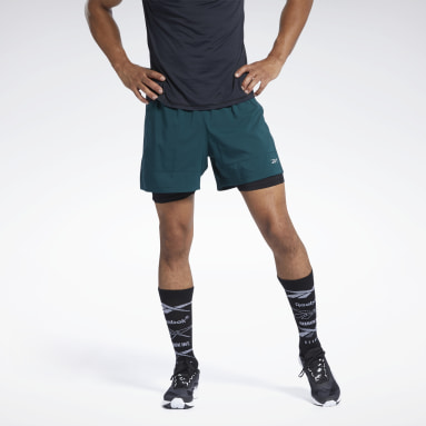 Men Cross Training Green Running Essentials Two-in-One Shorts
