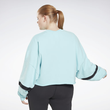 Jersey cropped French Terry Studio (talla grande) Azul Mujer Deporte