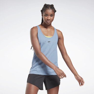 Women Gym & Training Blue United By Fitness Perforated Tank Top