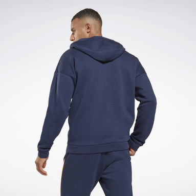 Men Fitness & Training Blue Training Essentials Piping Zip-Up Hooded Jacket