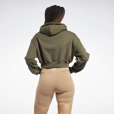 Women Classics Green Classics Cropped Heavyweight French Terry Hoodie