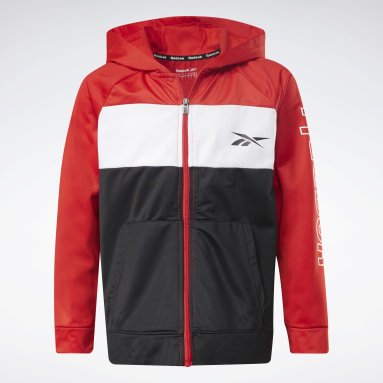 Boys Fitness & Training Red Two-Piece Reebok Full-Zip Hoodie and Joggers Set