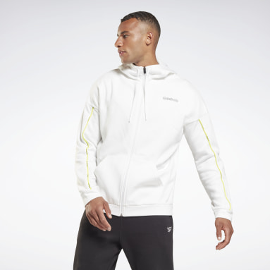 Men Lifestyle White Training Essentials Piping Zip-Up Hooded Jacket