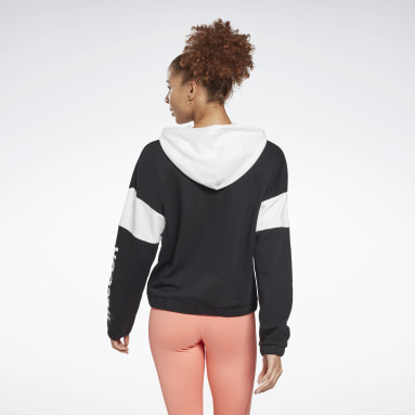 Women Fitness & Training Black Linear Logo French Terry Zip Up Hoodie