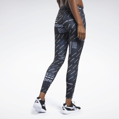 Women Fitness & Training Black Workout Ready Allover Print Tights