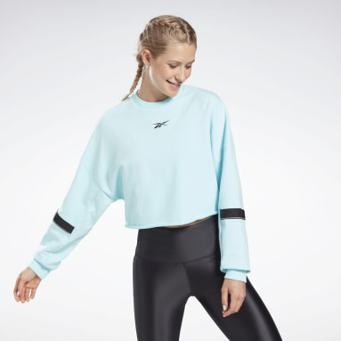 Jersey cropped French Terry Studio Azul Mujer Deporte