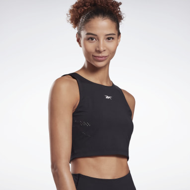 Top crop Perform Perforated Negro Mujer Deporte