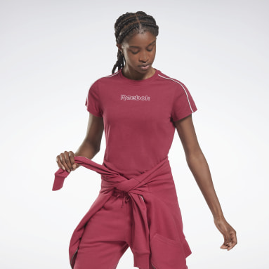 Dames Fitness & Training Roze Piping Pack Slim Tee