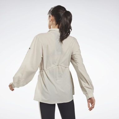 Women Fitness & Training Beige Collared Cover-Up