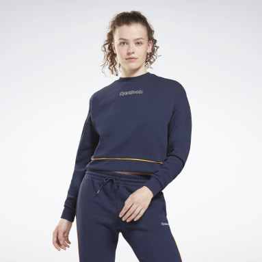 Dames Fitness & Training Blauw Piping Pack Crewneck