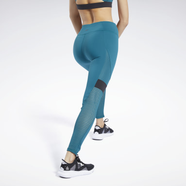 Women Fitness & Training Turquoise Reebok Lux Colorblock Tights 2.0
