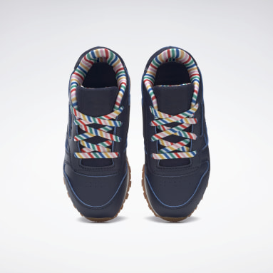 Girls Classics Blue Classic Leather Shoes - Toddler
