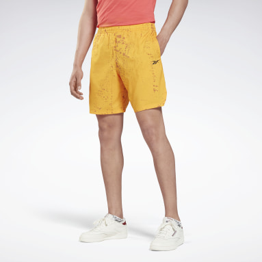 Men Training Yellow Workout Ready Allover Print Shorts