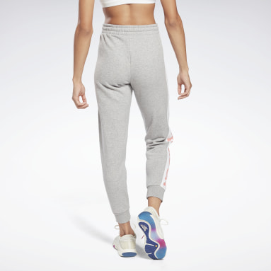 Women Fitness & Training Grey Linear Logo French Terry Pants