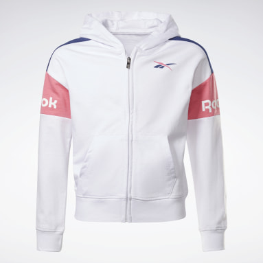 Girls Fitness & Training White Two-Piece Reebok Classic Full-Zip Hoodie and Joggers Set