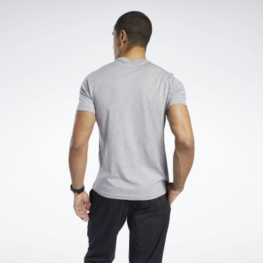 Camiseta gráfica Reebok Stacked Gris Hombre Running