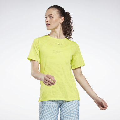 T-Shirt Burnout Giallo Donna Fitness & Training