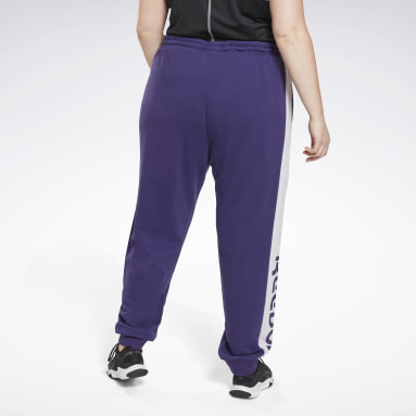 Women Fitness & Training Purple Linear Logo French Terry Joggers (Plus Size)