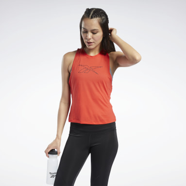 Women Cycling Red Workout Ready ACTIVCHILL Tank Top