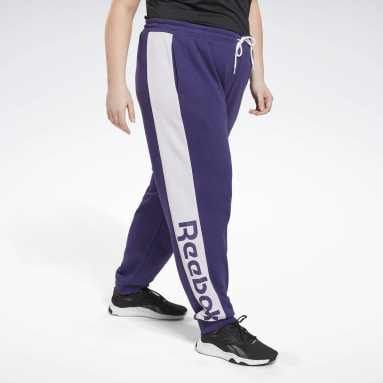 Frauen Fitness & Training Linear Logo French Terry Pants (Plus Size) Lila
