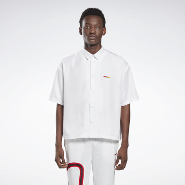 Classics White Reebok by Pyer Moss Short Sleeve Cropped Button-Down Shirt