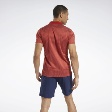 Men Training Red Workout Ready Striped Polo Shirt