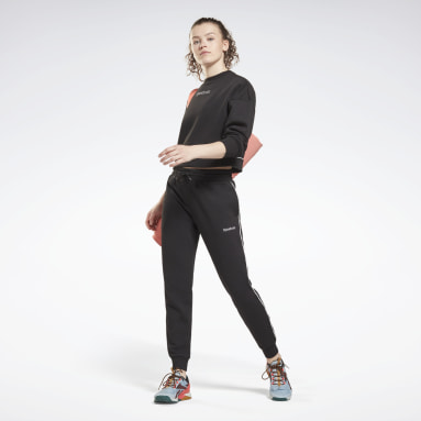 Women Lifestyle Black Piping Joggers