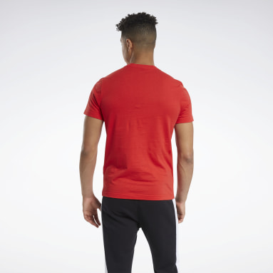 T-shirt Graphic Series Reebok Stacked Rosso Uomo Fitness & Training