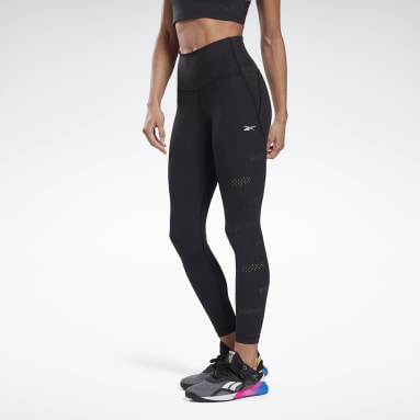 Mallas High-Rise Lux Perform Perforated Negro Mujer Deporte