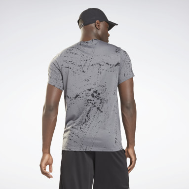 Men Fitness & Training Grey Workout Ready Allover Print T-Shirt