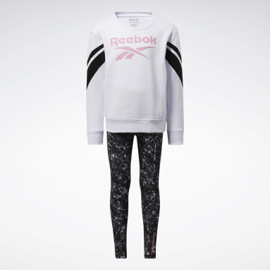Girls Fitness & Training White Two-Piece Reebok Marble Set