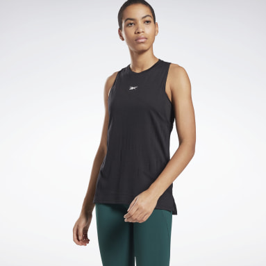 Women Cycling Black Burnout Tank Top