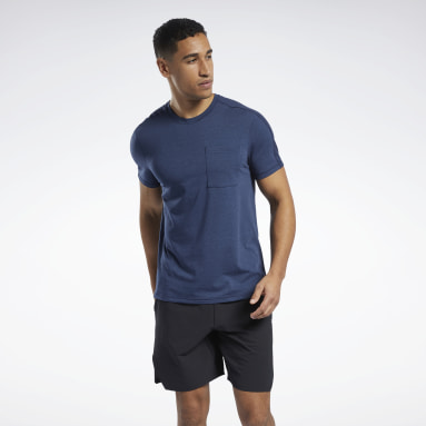 Men Pilates Blue Les Mills® Pocket T-Shirt
