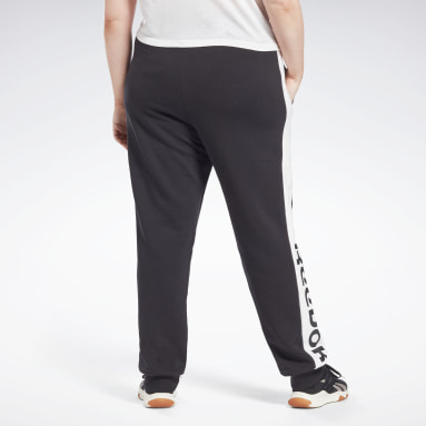 Dames Fitness & Training Zwart Linear Logo French Terry Broek (Plus Size)